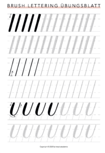 Brush Lettering Übungsblatt
